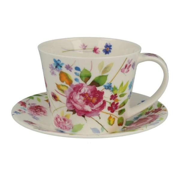 """Dunoon Tasse mit Untertasse """"Wild Garden Rose"""", Islay, 0,35 L"""