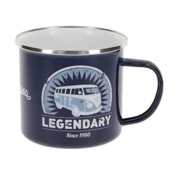 """""""VW T1 Bus - Emaille Tasse"""", 500 ml, Legendary/Blau"""
